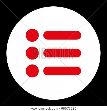 Items flat red and white colors round button