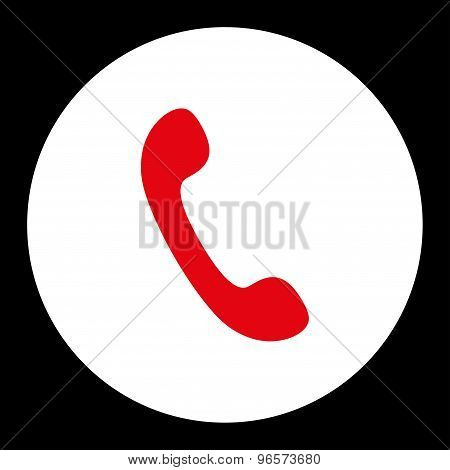 Phone flat red and white colors round button