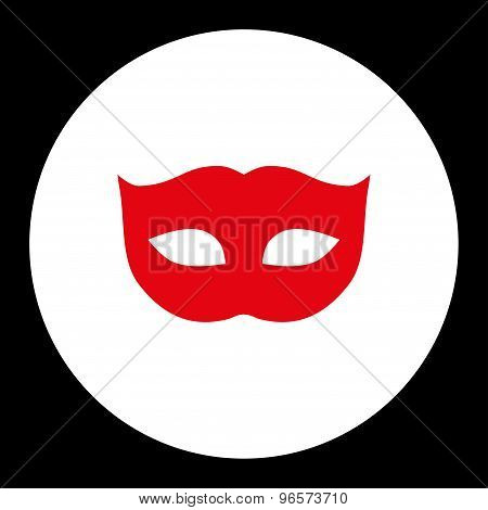 Privacy Mask flat red and white colors round button