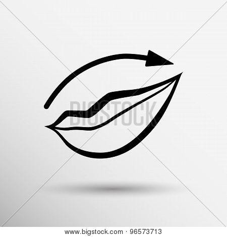 Applying lipstick using lip concealer brush icon