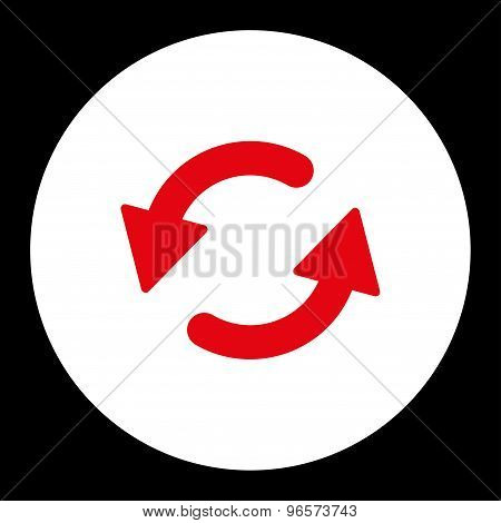 Refresh Ccw flat red and white colors round button