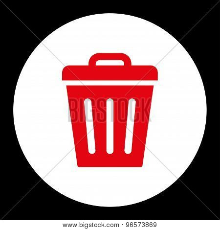 Trash Can flat red and white colors round button