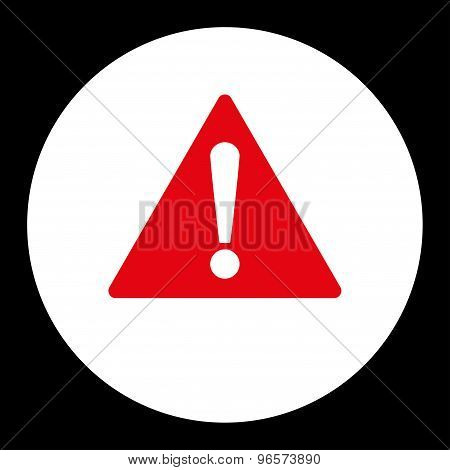 Warning flat red and white colors round button