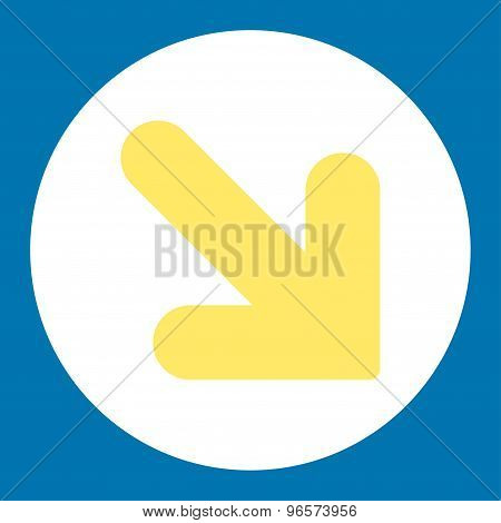 Arrow Down Right flat yellow and white colors round button