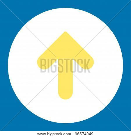 Arrow Up flat yellow and white colors round button