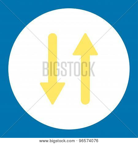 Arrows Exchange Vertical flat yellow and white colors round button