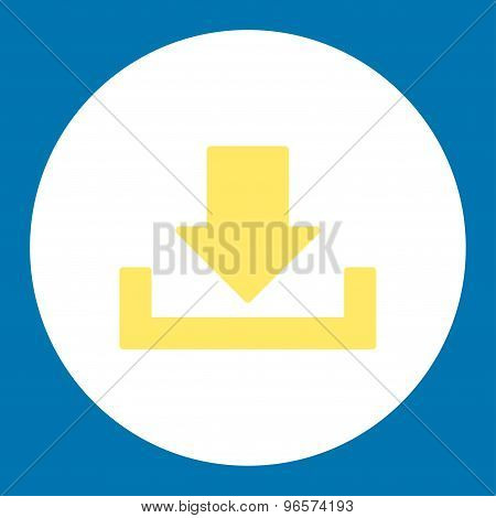 Download flat yellow and white colors round button
