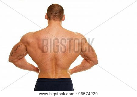 Man shows his back