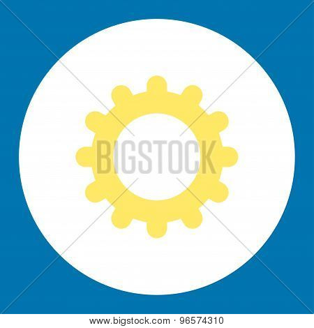 Gear flat yellow and white colors round button