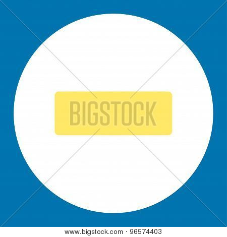 Minus flat yellow and white colors round button