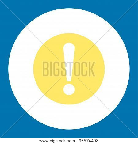 Problem flat yellow and white colors round button