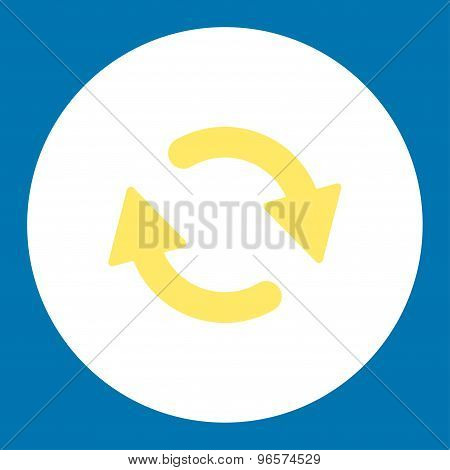 Refresh flat yellow and white colors round button