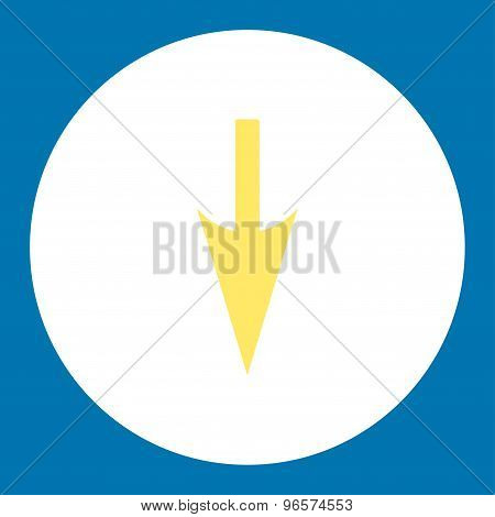 Sharp Down Arrow flat yellow and white colors round button