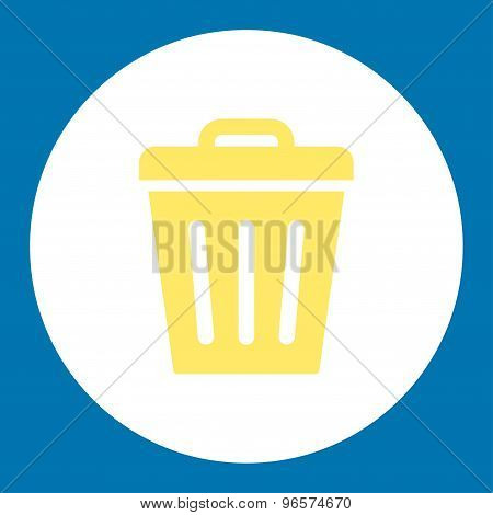 Trash Can flat yellow and white colors round button