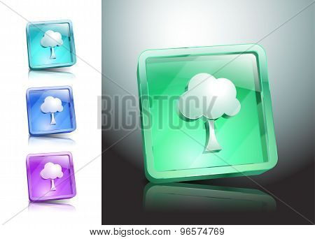 tree glass icons set color nature