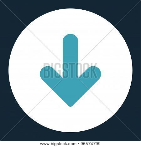 Arrow Down flat blue and white colors round button