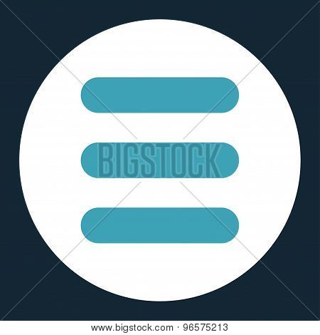 Stack flat blue and white colors round button