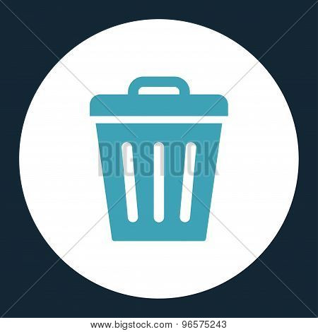 Trash Can flat blue and white colors round button