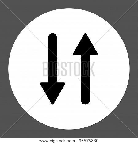 Arrows Exchange Vertical flat black and white colors round button
