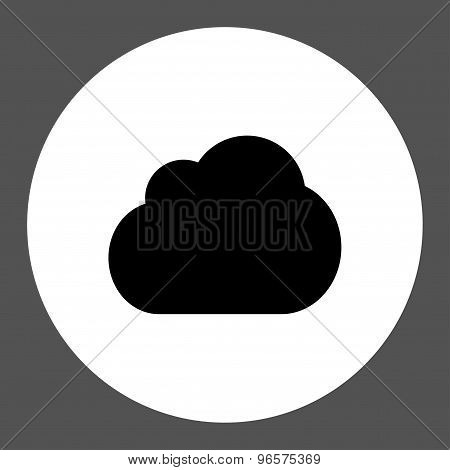 Cloud flat black and white colors round button