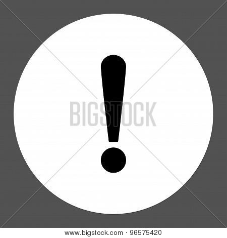 Exclamation Sign flat black and white colors round button