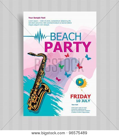Saxophone On Summer Beach Party Flyer Template