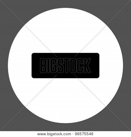 Minus flat black and white colors round button