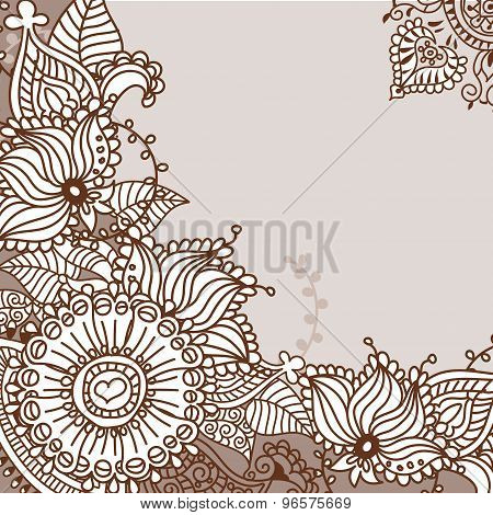 Henna tattoo doodle elements.Vector set.