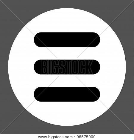 Stack flat black and white colors round button