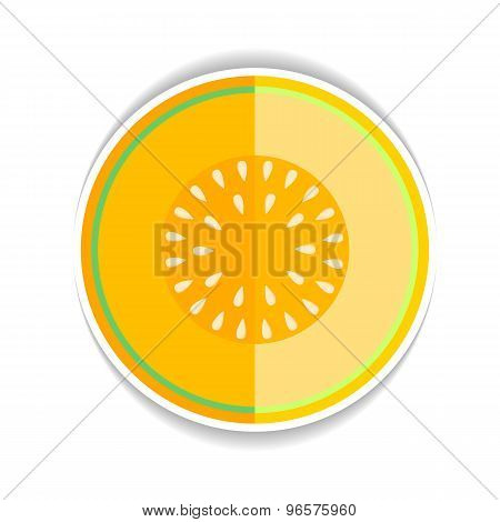 Vector icon Ripe yellow melon and a piece