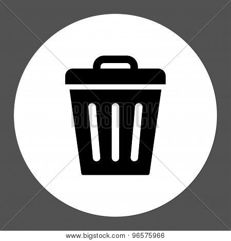 Trash Can flat black and white colors round button