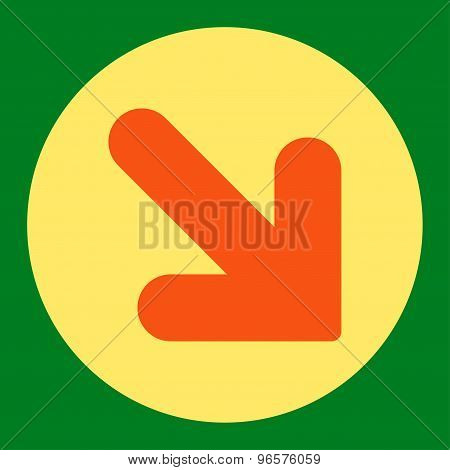 Arrow Down Right flat orange and yellow colors round button