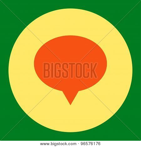 Banner flat orange and yellow colors round button
