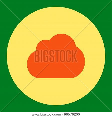 Cloud flat orange and yellow colors round button