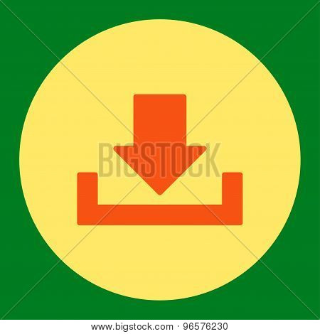 Download flat orange and yellow colors round button