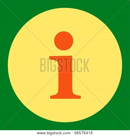 Info flat orange and yellow colors round button