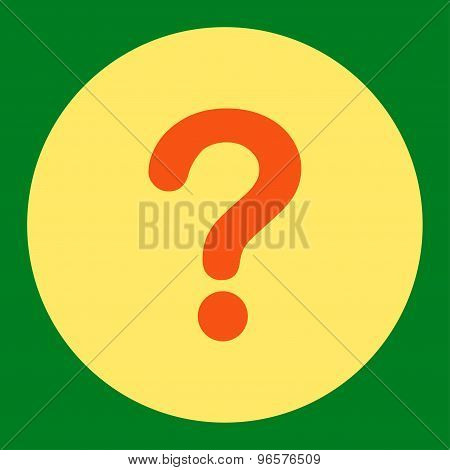 Question flat orange and yellow colors round button