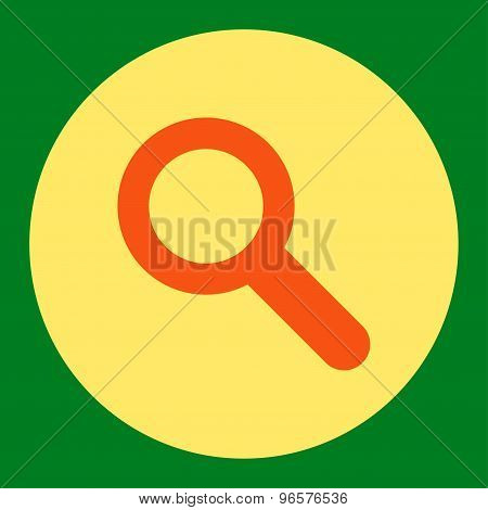 Search flat orange and yellow colors round button