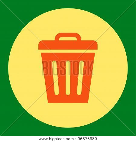 Trash Can flat orange and yellow colors round button