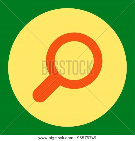 View flat orange and yellow colors round button