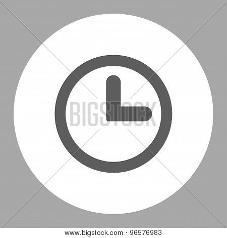 Clock flat dark gray and white colors round button