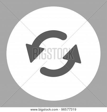 Refresh Ccw flat dark gray and white colors round button