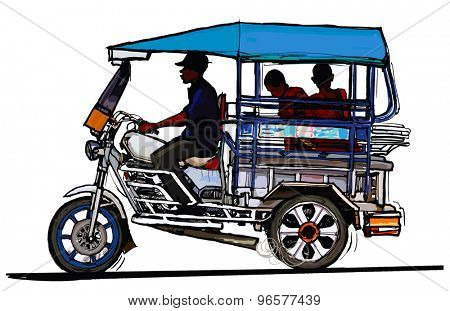 Driving tuk tuk in Laos - vector illustration