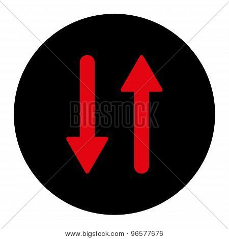 Arrows Exchange Vertical flat intensive red and black colors round button