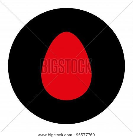 Egg flat intensive red and black colors round button