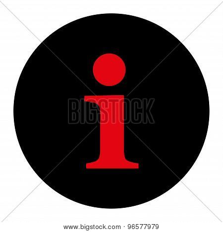 Info flat intensive red and black colors round button