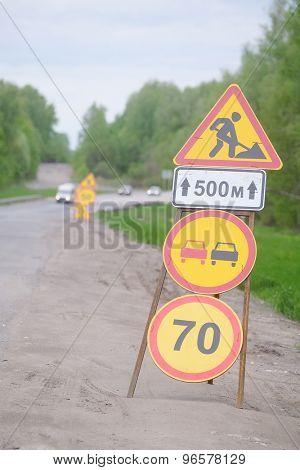 The image of repair road signs
