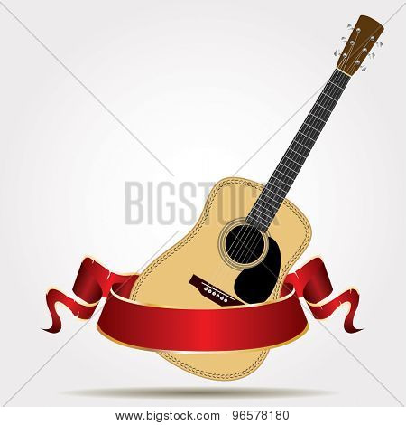 vector acoustic guitar with red banner