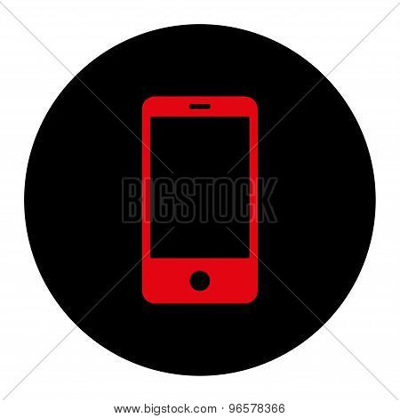 Smartphone flat intensive red and black colors round button