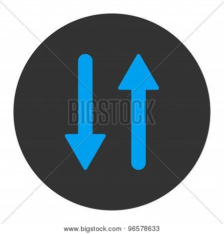 Arrows Exchange Vertical flat blue and gray colors round button